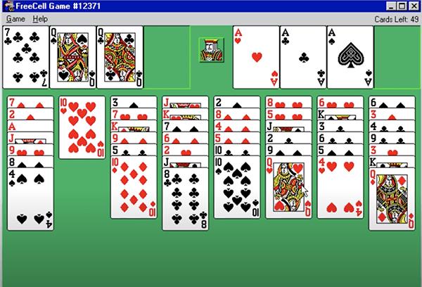 Een afbeelding van Freecell Solitaire op windows 98