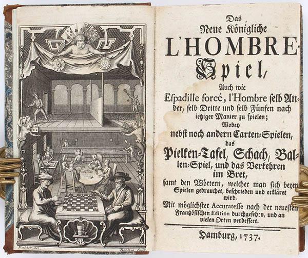 Het oude boek Das neue Königliche l'Hombre-spiel waar over patience wordt geschreven