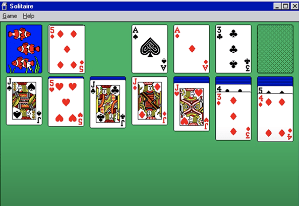 Windows Microsoft Solitaire 1990 ontwikkeld door Wes Cherry