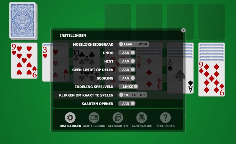 Instellingen Patience Spel - Voorbeeld mogelijkheden spel voorkeuren