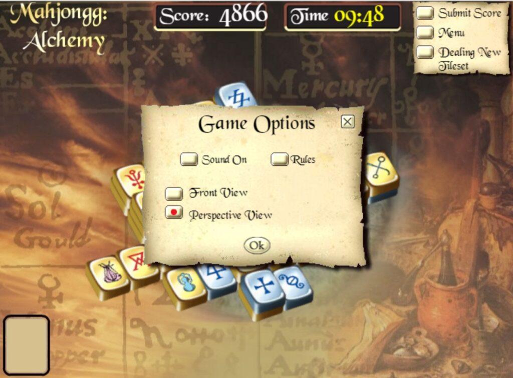 Mahjong alchemy html5 spel voorbeeld spel opties in menu